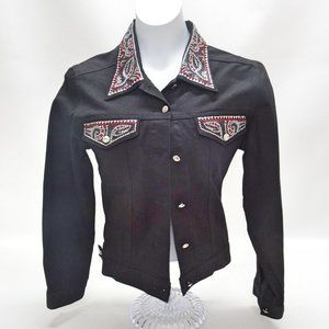 Christine Alexander Swarovski Black Denim Jacket